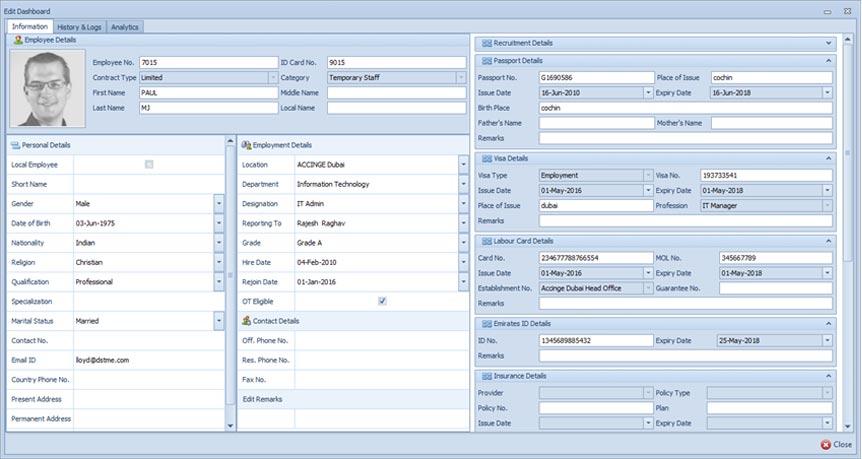 hr payroll software user dashboard view